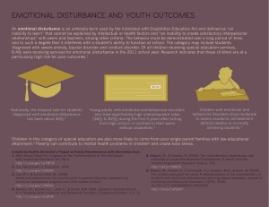 Emotional disturbance, infographic, youth outcomes, graduation cap, unemployment check