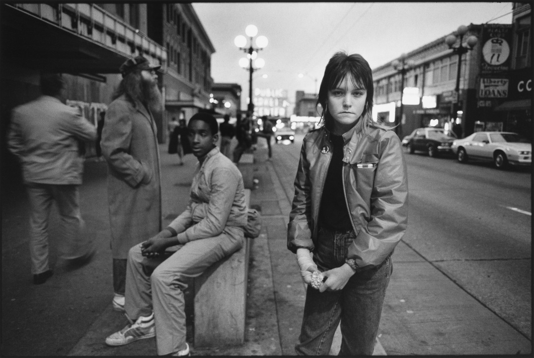 "Erin (who goes by her street name ""Tiny"") on Pike Street, Seattle, 1983"